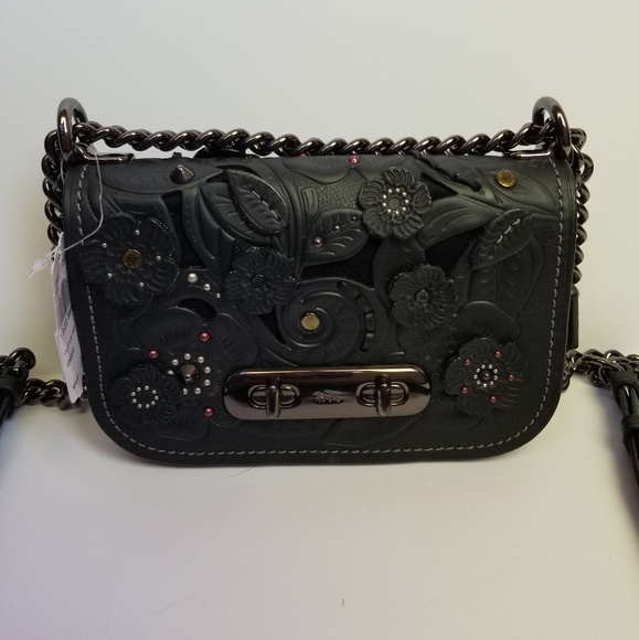 ae0e6f6a NEW Coach Swagger 20 Black Flower Tea Rose Purse